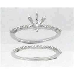 14K White Gold 0.23CTW Diamond Wedding Ring Set - REF-40X8Y