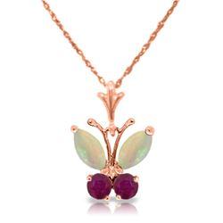 Genuine 0.70 ctw Opal & Ruby Necklace Jewelry 14KT Rose Gold - REF-25Z3N