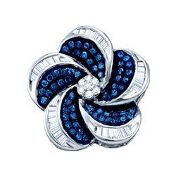 0.5 CTW Blue Colored Diamond Cluster Circular Pinwheel Pendant 10K White Gold