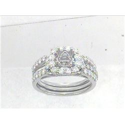 14K White Gold 0.97CTW Diamond Wedding Ring Set - REF-129A9N
