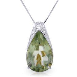 Genuine 5 ctw Green Amethyst Necklace Jewelry 14KT White Gold - REF-27Z2N
