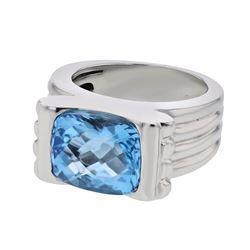 14K White Gold 7.26CTW Topaz Fashion Ring - REF-86W9H