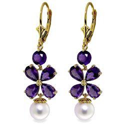 Genuine 6.28 ctw Amethyst & Pearl Earrings Jewelry 14KT Yellow Gold - REF-49A8K
