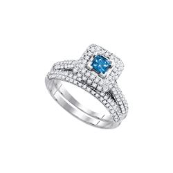 1.25 CTW Princess Blue Colored Diamond Bridal Engagement Ring 14K White Gold