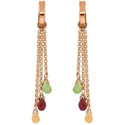 Genuine 4.9 ctw Garnet, Peridot & Citrine Earrings Jewelry 14KT Rose Gold - REF-43X6M