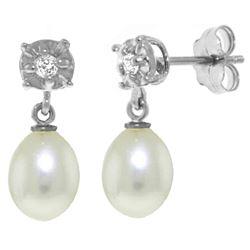 Genuine 8.06 ctw Pearl & Diamond Earrings Jewelry 14KT White Gold - REF-27A4K