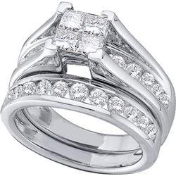 2 CTW Princess Natural Diamond Bridal Ring 14K White Gold