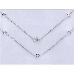 14K White Gold 0.22CTW Diamond Necklace - REF-35Y2X