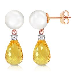 Genuine 6.6 ctw Pearl, Citrine & Diamond Earrings Jewelry 14KT Rose Gold - REF-27N6R