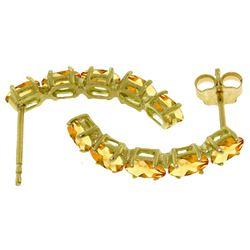 Genuine 2.5 ctw Citrine Earrings Jewelry 14KT White Gold - REF-37N4R