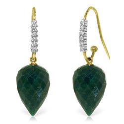 Genuine 25.98 ctw Green Sapphire Corundum & Diamond Earrings Jewelry 14KT Yellow Gold - REF-58N2R
