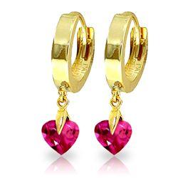 Genuine 1.50 ctw Pink Topaz Earrings Jewelry 14KT Yellow Gold - REF-25X9M