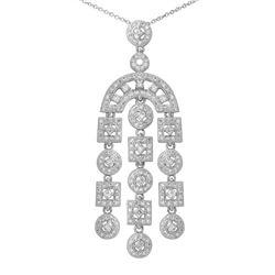 14K White Gold 1.35CTW Diamond Necklace - REF-134M9F