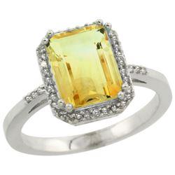 Natural 2.63 ctw Citrine & Diamond Engagement Ring 14K White Gold - REF-42A8V