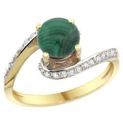 Natural 2.42 ctw malachite & Diamond Engagement Ring 14K Yellow Gold - REF-51G4M