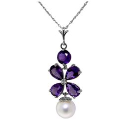Genuine 3.65 ctw Amethyst & Pearl Necklace Jewelry 14KT White Gold - REF-27N6R