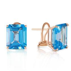 Genuine 14 ctw Blue Topaz Earrings Jewelry 14KT Yellow Gold - REF-54Y5F
