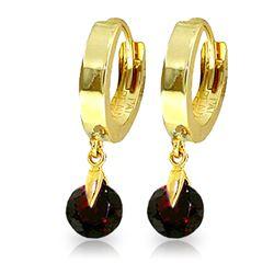 Genuine 2 ctw Garnet Earrings Jewelry 14KT Yellow Gold - REF-26X2M