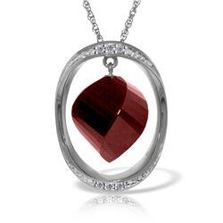 Genuine 15.35 ctw Ruby & Diamond Necklace Jewelry 14KT White Gold - REF-124T2A