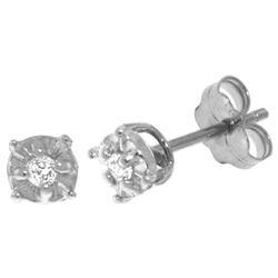 Genuine 0.06 ctw Diamond Anniversary Earrings Jewelry 14KT White Gold - REF-24A3K