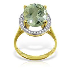 Genuine 5.28 ctw Green Amethyst & Diamond Ring Jewelry 14KT Yellow Gold - REF-83F3Z