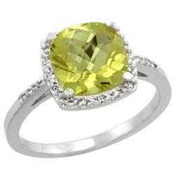 Natural 3.92 ctw Lemon-quartz & Diamond Engagement Ring 10K White Gold - REF-25M5H