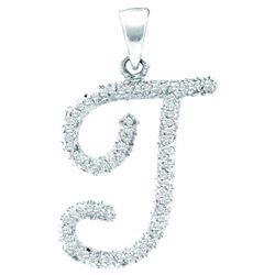 0.17 CTW Natural Diamond Letter T Initial Pendant 10K White Gold