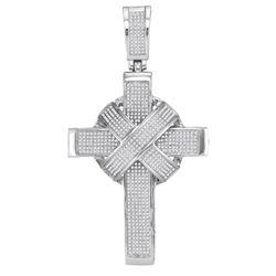 1.80 CTW Mens Natural Diamond Bound Roman Cross Charm Pendant 10K White Gold