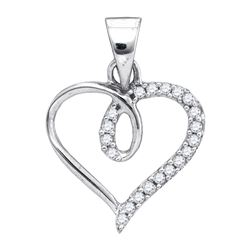 0.1 CTW Natural Diamond Heart Love Pendant 10K White Gold