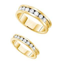 1.55 CTW His & Hers Natural Diamond Matching Bridal Band 14K Yellow Gold