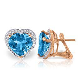 Genuine 12.88 ctw Blue Topaz & Diamond Earrings Jewelry 14KT Rose Gold - REF-107P3H