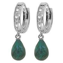 Genuine 6.64 ctw Green Sapphire Corundum & Diamond Earrings Jewelry 14KT White Gold - REF-50H2X