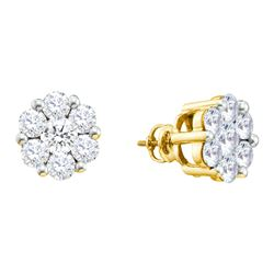 0.5 CTW Natural Diamond Flower Cluster Screwback Stud Earrings 14K Yellow Gold