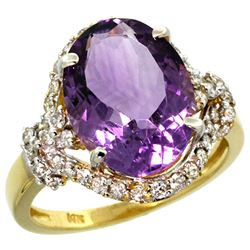 Natural 5.89 ctw amethyst & Diamond Engagement Ring 14K Yellow Gold - REF-88H8W
