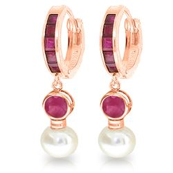 Genuine 4.65 ctw Ruby & Pearl Earrings Jewelry 14KT Rose Gold - REF-54M6T