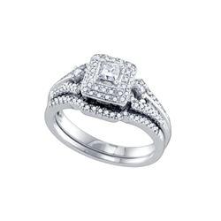 0.52 CTW Princess Natural Diamond Bridal Engagement Ring 14K White Gold