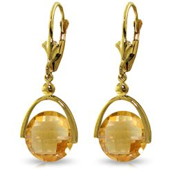 Genuine 6.5 ctw Citrine Earrings Jewelry 14KT Yellow Gold - REF-43R4P