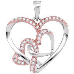 0.25 CTW Natural Diamond Rose-tone Heart Love Pendant 10K White Gold