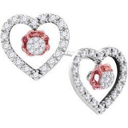 0.33 CTW Natural Diamond Heart Love Valentines Earrings 10K White Gold