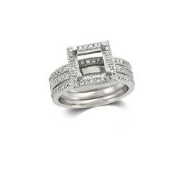 14K White Gold 1CTW Diamond Wedding Ring Set - REF-131M7F