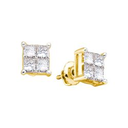 0.5 CTW Princess Natural Diamond Unisex Mens Screwback Stud Earrings 14K Yellow Gold