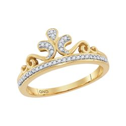 0.1 CTW Natural Diamond Crown Tiara Band 10K Yellow Gold