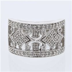 Round Cut Victorian-inspired Diamond Ring in 14K White Gold - REF-80A8N