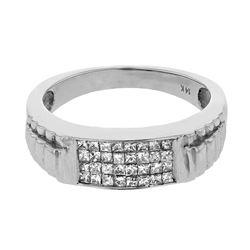 14K White Gold 0.53CTW Diamond Gents Ring - REF-75K3R