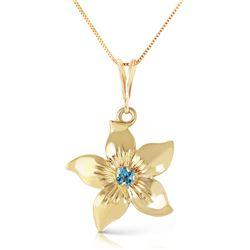 Genuine 0.10 CTW Blue Topaz Necklace Jewelry 14KT Yellow Gold - REF-38K2V