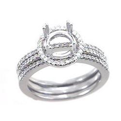14K White Gold 0.51CTW Diamond Wedding Ring Set - REF-92K9R
