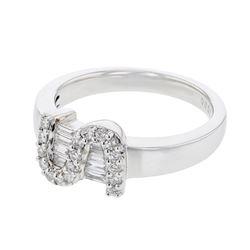 18K WhiteGold 0.38CTW Baguette Fashion Ring - REF-86W6H