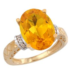 Natural 5.53 ctw Citrine & Diamond Engagement Ring 10K Yellow Gold - REF-44R6Z