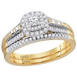 0.51 CTW Princess Natural Diamond Bridal Engagement Ring 14K Yellow Gold