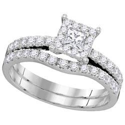 0.88 CTW Natural Princess Diamond Bridal Engagement Ring 14K White Gold